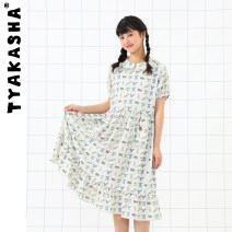 Dress Summer 2021 Color checkerboard S M Mid length dress singleton  Short sleeve Sweet other Broken flowers Socket A-line skirt other 18-24 years old Type A TYAKASHA T21CQIP019 More than 95% polyester fiber Polyester 100%