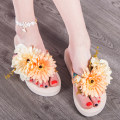 slipper 35 36 37 38 39 40 HeiTangMaLin Beige 3cm blue 3cm coffee 3cm black 3cm pink 6cm Beige 6cm blue 6cm coffee 6cm black 6cm Slope heel Middle heel (3-5cm) cloth Summer 2017 flip flops EVA daily Sweet Adhesive shoes Youth (18-40 years old) Plants and flowers Huahuapo and muffin A8