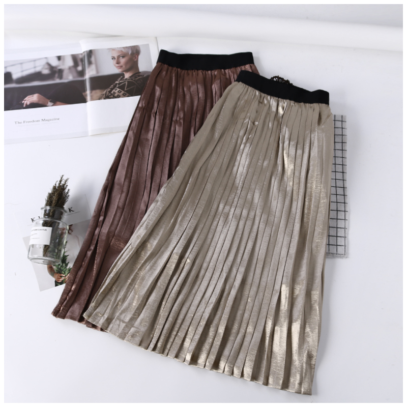 skirt Summer of 2018 Average size Brown Black Khaki Mid length dress Versatile High waist Pleated skirt Solid color Type H 18-24 years old B0906110