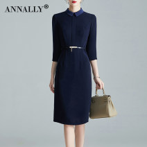 Dress Autumn 2020 Navy (delivery belt) M L XL XXL XXXL 4XL Mid length dress singleton  three quarter sleeve commute Doll Collar middle-waisted Solid color zipper One pace skirt routine 30-34 years old Type H Annally Ol style zipper X1330 More than 95% polyester fiber Polyester 100%
