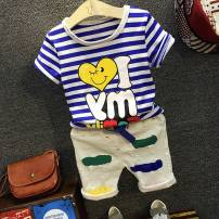 T-shirt Striped love short sleeve, lacquered trousers, white trousers suit, lacquered jeans suit Other / other 90cm (size 7), 100cm (size 9), 110cm (size 11), 120cm (size 13), 130cm (size 15) neutral summer Short sleeve Crew neck Korean version cotton stripe