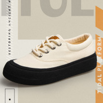 canvas shoe 8383 Feiyue / leap woman Low Gang Frenulum no canvas 199 Rubber bottom Spring 2021 non-slip Solid color Japan and Korea canvas shoe Muffin with Rice black 34