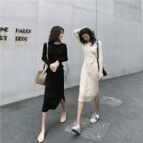 Dress Autumn of 2019 Apricot, black S,M,L,XL Miniskirt singleton  Long sleeves commute Crew neck High waist Solid color Socket A-line skirt routine Others 18-24 years old Type H Other / other Korean version 51% (inclusive) - 70% (inclusive) knitting