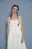 Dress Summer 2020 white Average size Mid length dress singleton  Sleeveless Sweet square neck middle-waisted Solid color Single breasted Irregular skirt other camisole Type A More than 95% cotton solar system