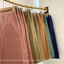 skirt Spring 2021 S,M,L khaki , Orange , green , Navy , Grapefruit Mid length dress Versatile Natural waist A-line skirt Solid color Type A 25-29 years old BQ92086 More than 95% other Home only other