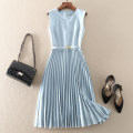 Dress Summer 2021 Light blue, dark blue S,M,L,XL Mid length dress singleton  Sleeveless street Crew neck High waist Solid color zipper Pleated skirt Others Type A Lace up, stitching, zipper A2020061211 81% (inclusive) - 90% (inclusive) other polyester fiber Europe and America