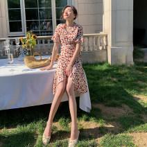 Dress Summer 2020 safflower S,M,L,XL Middle-skirt singleton  Short sleeve commute V-neck Decor Irregular skirt Lotus leaf sleeve Others Retro Lace up, printed