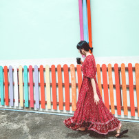 Dress Autumn of 2019 Blue, red, green S,M,L,XL longuette singleton  elbow sleeve V-neck Elastic waist Decor A button Big swing pagoda sleeve Others Tassels, buttons, prints