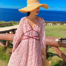 Dress Autumn of 2019 Cherry Pink S,M,L Mid length dress singleton  Long sleeves commute V-neck High waist Broken flowers Socket Pleated skirt bishop sleeve Others 18-24 years old Type A Miss Moso Retro Patch, print More than 95% Chiffon polyester fiber