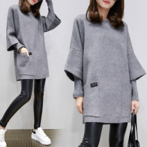 Women's large Autumn 2017, winter 2017, winter 2018 438 @ gray fake two sweaters, 438 @ pink fake two sweaters, 666 @ red lips [velvet], 926 # pink letter sweaters, 926 # black letter sweaters, 071 white, 071 black, 071 pink, white and blue T-shirt Sweater / sweater Fake two pieces commute easy thick