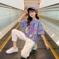T-shirt Blue, full size, please don't be greedy, collection plus purchase priority delivery Other / other 120cm,130cm,140cm,150cm,160cm,170cm female summer Short sleeve Crew neck Korean version There are models in the real shooting nothing cotton stripe Other 100% A7689 Class B other Chinese Mainland