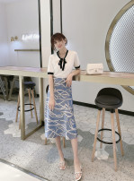 skirt Summer 2020 S/160,M/165,L/170 Blue chain Mid length dress Versatile Natural waist A-line skirt lattice Type A 25-29 years old More than 95% other cotton