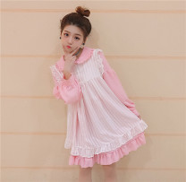 Dress Spring 2017 Pink (single piece), blue (single piece), black (single piece), black (two-piece set), pink (two-piece set), blue (two-piece set) Average size Mid length dress Two piece set Long sleeves Sweet Lotus leaf collar High waist Solid color Socket Princess Dress Others Under 17