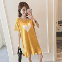 T-shirt White, yellow, black M,L,XL,2XL Summer 2021 Short sleeve Crew neck easy Medium length routine commute polyester fiber 86% (inclusive) -95% (inclusive) 18-24 years old Retro youth Solid color printing