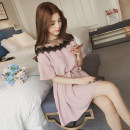 Dress Other / other Pink, black, boat socks M,L,XL,XXL Versatile Short sleeve Medium length summer Crew neck Solid color Chiffon
