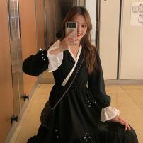 Dress Autumn 2020 Black, white vest M,L,XL,XXL longuette singleton  Long sleeves commute V-neck High waist Solid color Socket Irregular skirt pagoda sleeve Retro