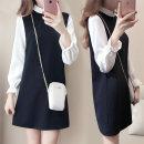 Dress Autumn 2020 Black, white vest M,L,XL,2XL,3XL singleton  Long sleeves commute Polo collar High waist Solid color Princess Dress Korean version