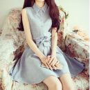 Dress Summer of 2018 S,M,L,XL Middle-skirt singleton  Sleeveless commute Polo collar Elastic waist Single breasted Princess Dress routine Others 18-24 years old Type A Other / other Korean version Bow tie 51% (inclusive) - 70% (inclusive)