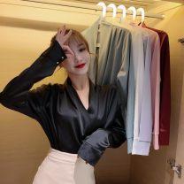 Lace / Chiffon Spring 2020 White, green, black, jujube, light blue, pink Average size Long sleeves commute Socket singleton  easy V-neck 18-24 years old A2678 Korean version