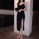 Dress Summer 2020 black Average size (160 / 84A) Middle-skirt singleton  Short sleeve commute Crew neck High waist Solid color Socket routine 18-24 years old Korean version
