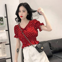 Lace / Chiffon Summer 2020 Picture color Average size (160 / 84A) Short sleeve commute Socket singleton  Self cultivation have cash less than that is registered in the accounts V-neck Dot 18-24 years old BYW131 Korean version
