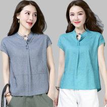 T-shirt Grey, pink, blue Summer 2021 Short sleeve stand collar easy Regular routine commute hemp 71% (inclusive) - 85% (inclusive) literature literature Solid color Stereo decoration, button
