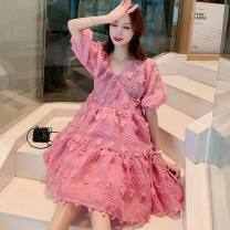 Dress Other / other rose red Korean version Short sleeve Medium length summer V-neck