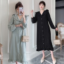 Dress Fortune maternity Black, lake blue M,L,XL,XXL Korean version Long sleeves Medium length autumn Lapel Solid color hemp