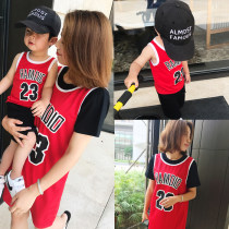 Parent child fashion gules Mother and son male Other / other 73cm (tag 5) 80cm (tag 7) 90cm (tag 9) 100cm (tag 11) 110cm (tag 13) Mom m mom l mom XL Eight hundred and ninety-seven summer motion Thin money Solid color skirt L M XL