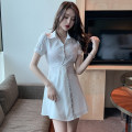 Dress Summer 2021 White, black S,M,L,XL Short skirt Two piece set Short sleeve commute Polo collar middle-waisted Solid color Socket A-line skirt routine Others 18-24 years old Type A Korean version Stitching, sequins 51% (inclusive) - 70% (inclusive) brocade cotton