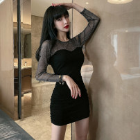 Dress Spring 2021 black S,M,L,XL Short skirt singleton  Long sleeves commute Crew neck High waist Solid color Socket One pace skirt routine Others 18-24 years old Type X Korean version 31% (inclusive) - 50% (inclusive) knitting polyester fiber