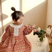 Dress gules female Other / other 7(90cm),9(100cm),11(110cm),13(120cm),15(130cm) Other 100% spring and autumn fresh Long sleeves Broken flowers other A-line skirt Two, three, five, six, four Chinese Mainland