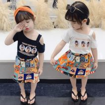 suit Other / other Black, white 7(90cm),9(100cm),11(110cm),13(120cm),15(130cm) female summer Short sleeve + skirt 2 pieces Socket children Expression of love 2 years old, 3 years old, 4 years old, 5 years old, 6 years old