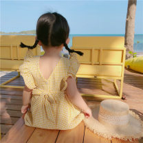 Dress Light blue, yellow female Other / other 7(90cm),9(100cm),11(110cm),13(120cm),15(130cm) Other 100% summer Korean version lattice other other 2 years old, 3 years old, 4 years old, 5 years old, 6 years old
