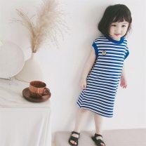 Dress blue female Other / other 7(90cm),9(100cm),11(110cm),13(120cm),15(130cm) Other 100% summer Korean version Short sleeve stripe other other 2 years old, 3 years old, 4 years old, 5 years old, 6 years old