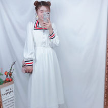 Dress Spring of 2019 White long sleeves L,S,M longuette singleton  Long sleeves commute V-neck High waist A button routine Others Retro