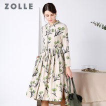 Dress Autumn of 2018 Wood brown flower wood color S M L XL Mid length dress singleton  Long sleeves commute Polo collar High waist Decor Single breasted Big swing other Others 35-39 years old Type A ZOLLE Simplicity Asymmetric button print split pocket 29FA0204 More than 95% cotton Cotton 100%