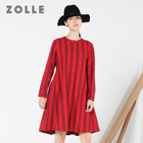 Dress Fall 2017 S M L XL Middle-skirt singleton  Long sleeves commute Crew neck middle-waisted stripe Single breasted Pleated skirt other Others 35-39 years old ZOLLE Simplicity Pleated button More than 95% cotton Cotton 100% Same model in shopping mall (sold online and offline)