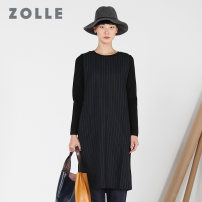 Dress Winter 2017 Black stripe S M L XL Mid length dress singleton  Long sleeves commute Crew neck Loose waist stripe Socket other routine 35-39 years old Type H ZOLLE Simplicity pocket 51% (inclusive) - 70% (inclusive) polyester fiber Same model in shopping mall (sold online and offline)