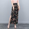 skirt Summer of 2019 S,M,L,XL,2XL Decor Mid length dress Retro High waist skirt Broken flowers Type H 25-29 years old Chiffon Yiyin polyester fiber Zipper, stitching