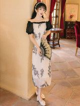 Dress Summer 2021 Black and white S,M,L Mid length dress singleton  Short sleeve commute square neck High waist other zipper One pace skirt puff sleeve Type A Retro Auricularia auricula, stitching, printing