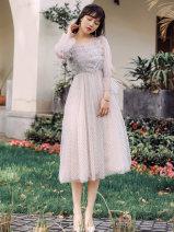 Dress Spring 2021 Wave point off white S,M,L Mid length dress singleton  Long sleeves commute High waist Dot zipper A-line skirt Type A lady Frenulum