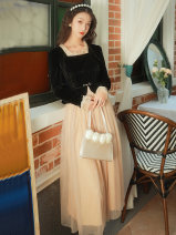 Dress Spring 2021 Picture color S,M,L longuette Fake two pieces Long sleeves commute square neck High waist other zipper A-line skirt Type A Retro Splicing, mesh
