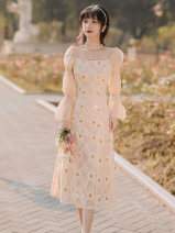 Dress Spring 2021 Picture color S,M,L Mid length dress singleton  Long sleeves commute square neck High waist zipper A-line skirt bishop sleeve Type A Retro Stitching, embroidery, lace