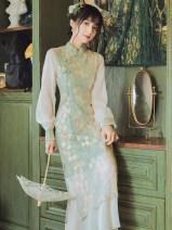 Dress Summer 2021 Light green S,M,L Mid length dress singleton  Long sleeves commute stand collar High waist zipper Type A Retro Embroidery