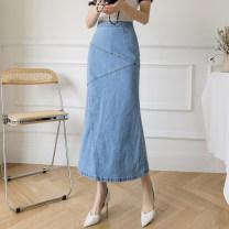 skirt Spring 2021 2/S,3/M,4/L,5/XL,6/2XL blue Mid length dress commute High waist Denim skirt Solid color Type A 71% (inclusive) - 80% (inclusive) Brother amashsin polyester fiber zipper literature