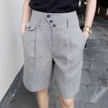 Casual pants grey 1/XS,2/S,3/M,4/L,5/XL Summer 2021 Pant Wide leg pants High waist Versatile routine 96% and above 5100279-352131-001 Brother amashsin hemp pocket hemp