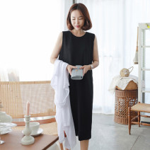 Dress Summer 2020 black 4XL,3XL,2XL,XL,L,M,S,XS Mid length dress singleton  Sleeveless commute Crew neck Loose waist Solid color Socket other other Others 25-29 years old Type H Other / other Korean version 51% (inclusive) - 70% (inclusive) other polyester fiber