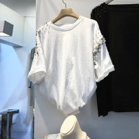 T-shirt White, black S,M,L,XL Summer 2021 Short sleeve Crew neck easy Regular routine commute other 31% (inclusive) - 50% (inclusive) 18-24 years old Korean version Nail bead, inlaid with diamond