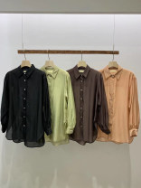 shirt S,M,L,XL Spring 2021 other 51% (inclusive) - 70% (inclusive) Long sleeves commute Regular Polo collar Single row multi button routine Solid color 18-24 years old Straight cylinder Korean version